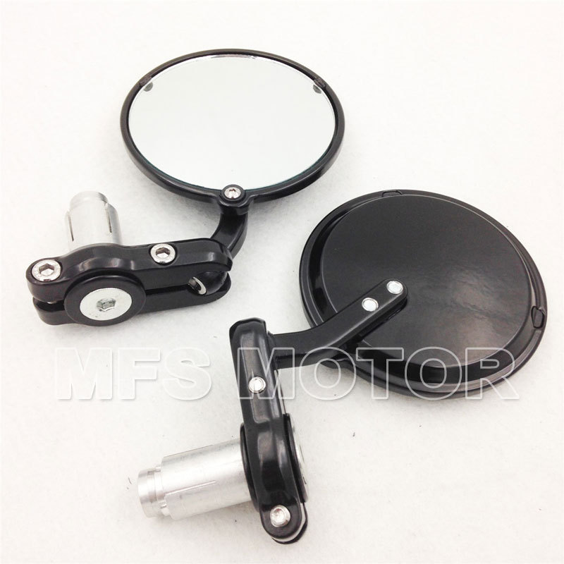 Motorcycle Bar End Mirrors For Cafe Racer Clubman Biker Black Aluminum Round