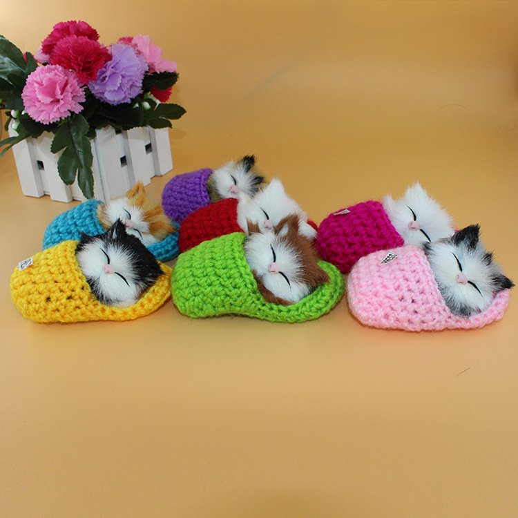Lovely Simulation Pet Animal Cats slipper Kittens Sound 7 colors very mini cute Plush Toys Kids Appease Doll Christmas Gift