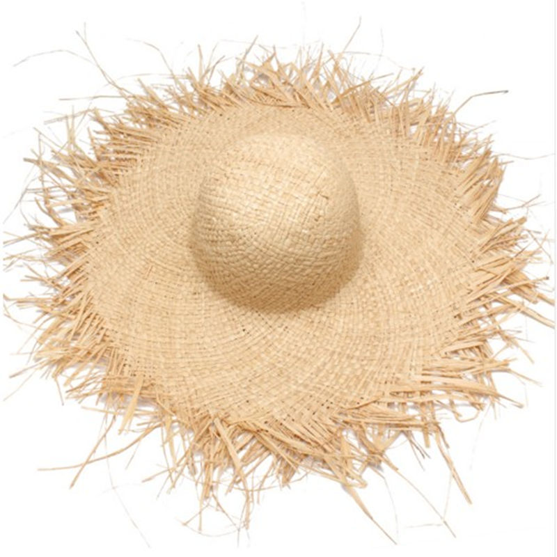 Natural Large Wide Brim Raffia Straw Hats Woven Circle Fringe Beach Cap Summer Hollow Out Big Straw Hat