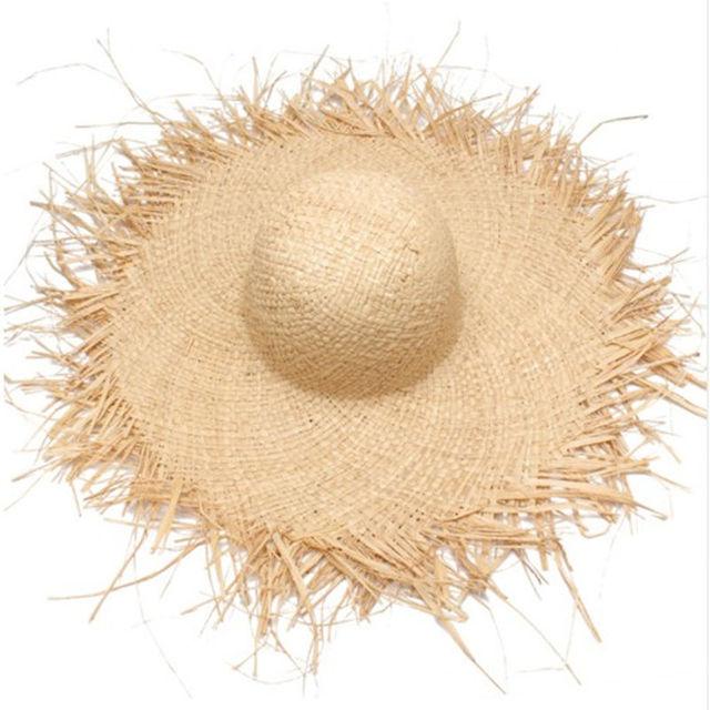Naturale di Grandi Dimensioni A Tesa Larga Rafia Cappelli di Paglia Tessuto  Cerchio Frangia Protezione Della ab906d53e667
