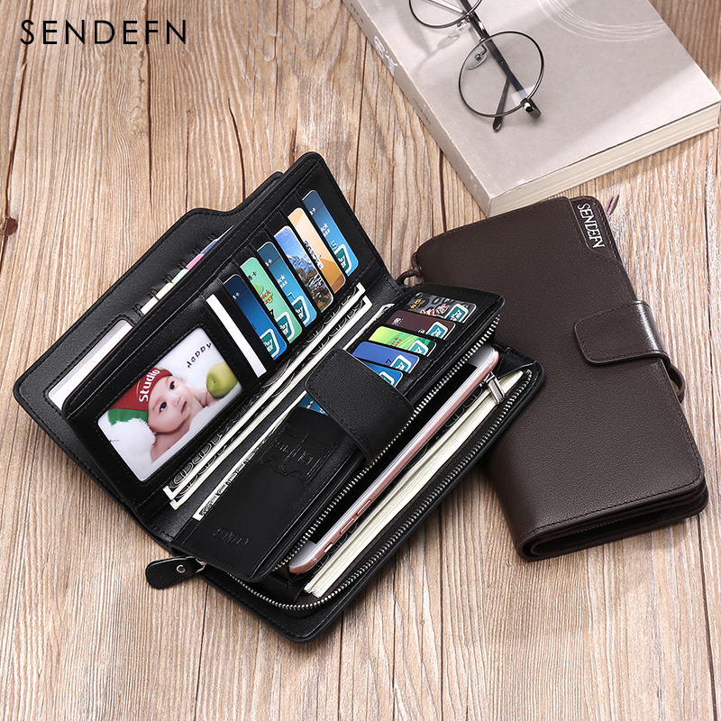 Купить с кэшбэком Hot Sale Luxury Genuine Leather Men Wallets Long Purse SENDEFN Man Wallet Card Holder Male Clutch Zipper Coin Pocket
