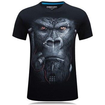 2018 New Hot 3D t shirt Rock Personality T-shirt 5XL 6XL Headphone Orangutan