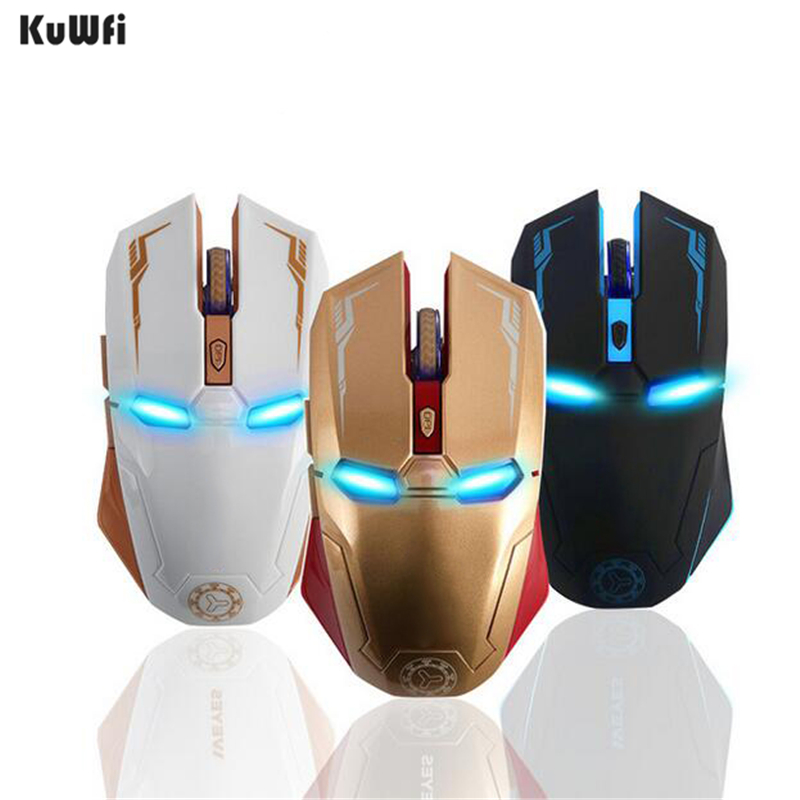 KuWFi Iron Man Wireless Gaming Mouse 2.4G with USB Nano Receiver for Laptop,Computer, Macbook,Notebook,3 DPI Adjustment Levels title=
