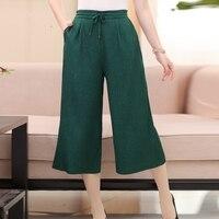 93% Silk and 7% Spandex Women's Wide Leg Cropped Lounging Pants Size L XL XXL XXXL
