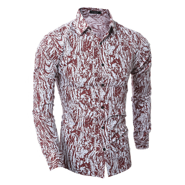 b28eeddea548 The Spring Of The New Men s Fashion Mens Shirts Casual Slim Fit Classic  Printing Camisas Masculinas