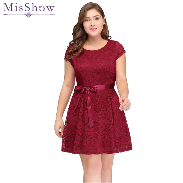 Cheap Short Evening Dress Plus Size Women Sexy A Line 2018 Lace Red