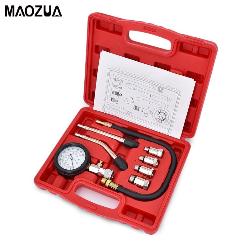 9 PCS car tools Pressure Compression Tester Petrol Gas Engine Cylinder Compressor Gauge Meter Test Leakage Diagnostic