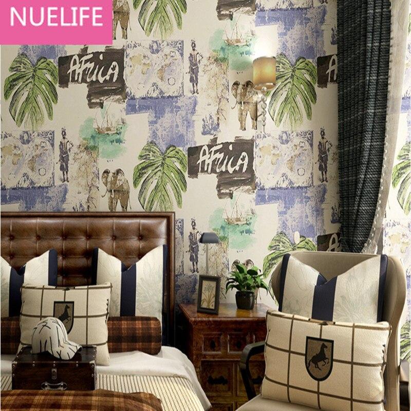 0.53x10 m Style sud-est asiatique de bon augure éléphant feuille de banane motif papier peint chambre salon papier peint pur