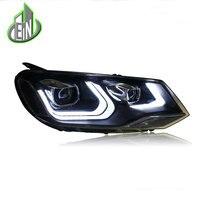 Стайлинга автомобилей фары 2011 13 для VW Touareg светодиодный фара для Touareg фара светодиодный дневного света светодиодный DRL Би ксеноновые