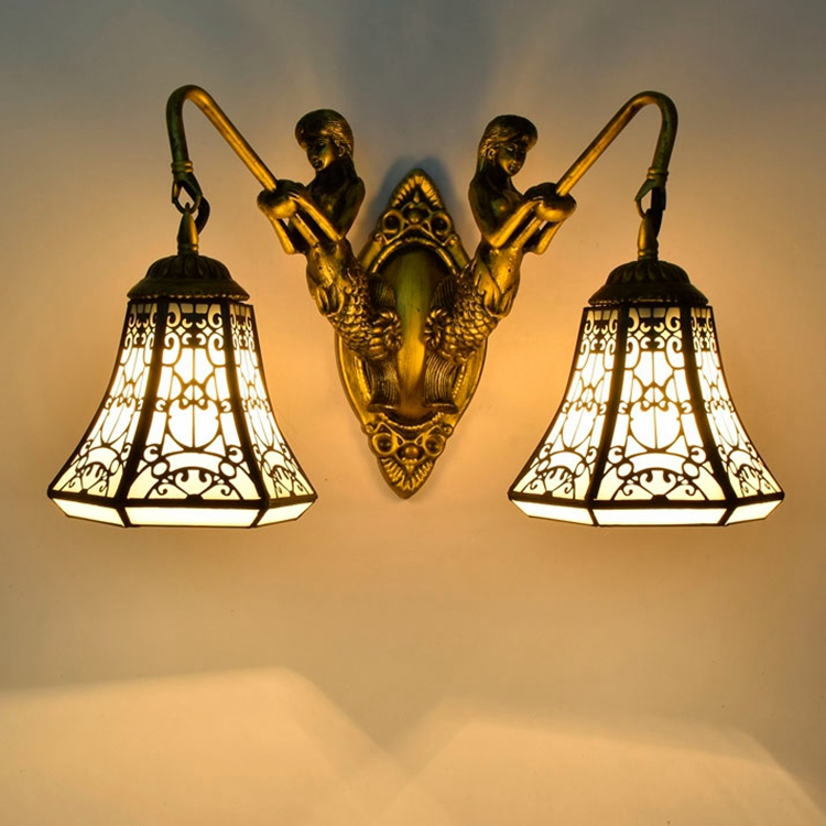 Tiffany Baroque vintage Stained Glass Iron Mermaid wall lamp indoor lighting bedside lamps wall lights for home AC 110V/220V E27 tiffany baroque sunflower stained glass iron mermaid wall lamp indoor bedside lamps wall lights for home ac 110v 220v e27