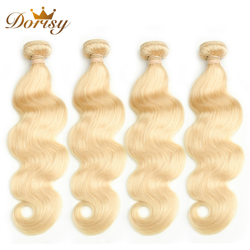 Dorisy Hair 10-24 Inch Mongolian 4 Pcs 100% Human Hair Weave Extension 613 Blonde Body Wave Remy Hair Weave Bundles
