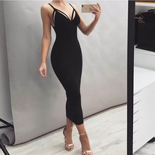 summer clothes for women new arrival 2019 sexy long dress bodycon v neck suspenders backless zipper pencil free shiping