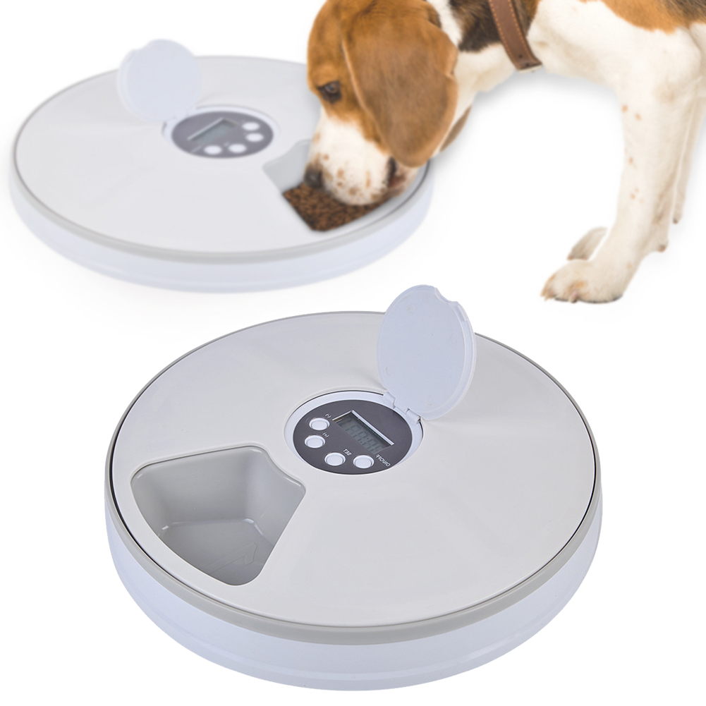 6 Grid Music Reminding Stainless Steel Food Bowl Automatic Home Electric Pet Feeder Dry Round Digital