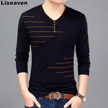 Liseaven Men T Shirt Long Sleeve V-Neck T-Shirt Knitted tshirt Men's Fashion Slim Fit Brand New Tops & Tees