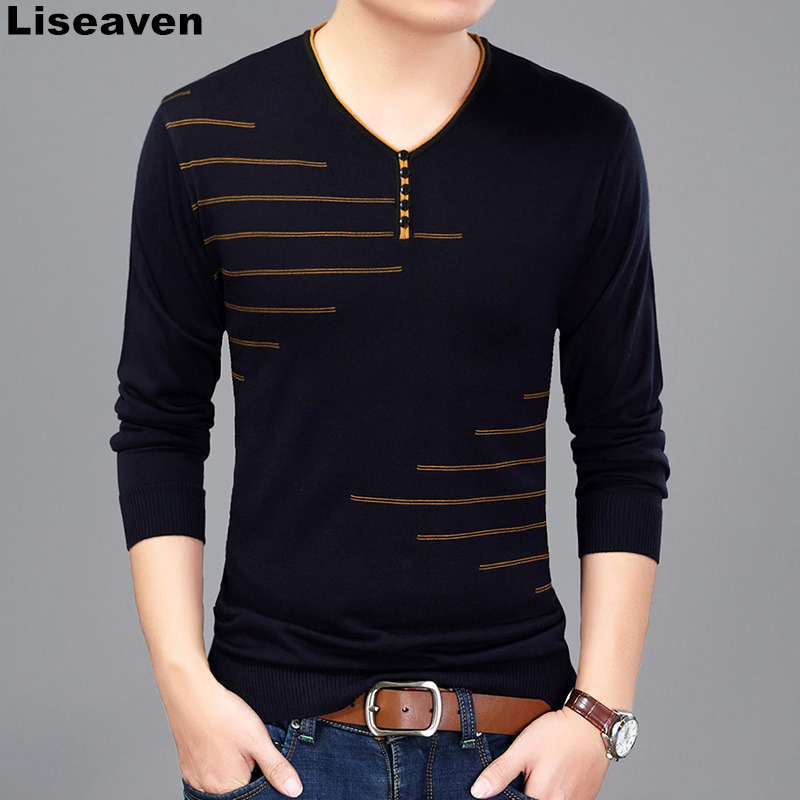 Liseaven Men T Shirt Long Sleeve V Neck T Shirt Knitted tshirt Men s Fashion Slim