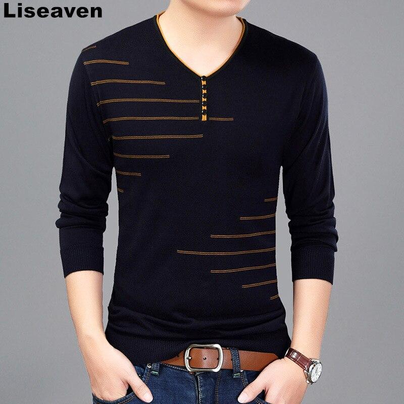 Liseaven Men T Shirt Long Sleeve V-Neck T-Shirt Knitted Tshirt Men's Fashion Slim Fit Brand New Tops & Tees
