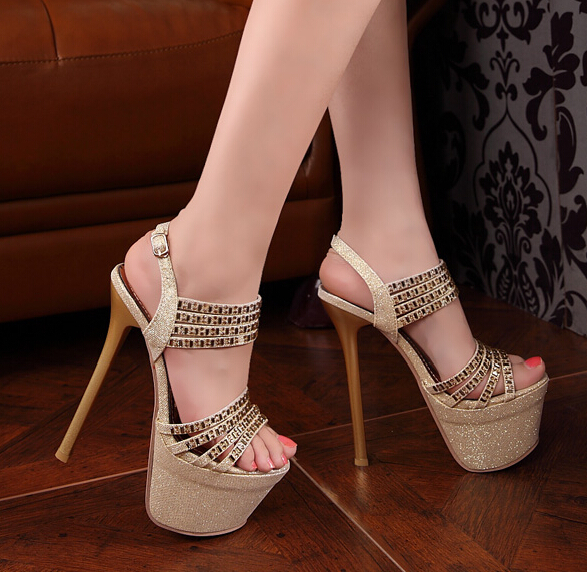 Fashion sexy ultra high heels platform sandals 16cm rhinestone thin heels  shoes bling bling women shoes best selling flip flops-in Women s Sandals  from ...