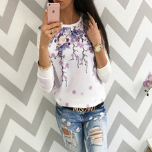 2017 Winter Autumn Women Pullovers Sweatshirt Flower Printed Kawaii Harajuku Long Sleeve Thin Loose Female Hoodies Tops Shirts