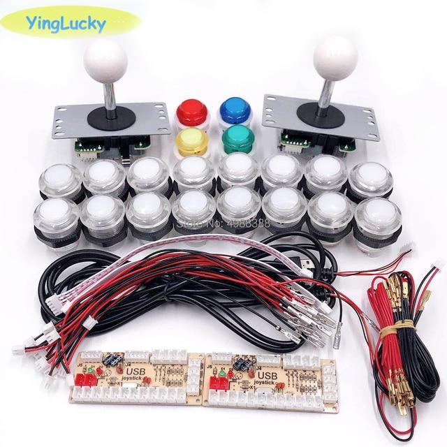 Dla 2 osób DIY drążek arkadowy zestawy z 20 LED zręcznościowa przyciski + 2 joysticki + 2 USB enkodera zestaw + zestaw kable Gra arkade zestaw części