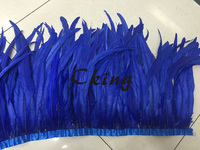 Free Shipping 2 yard rooster tail feather fringes trims 40 45cm/16 18inch coque feather Trimming on satin ribbon for cloth