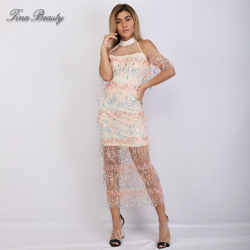 Tina beauté licou transparent dentelle maille Maxi robe femme paillettes longue gland dos fendu longue robe pour femmes