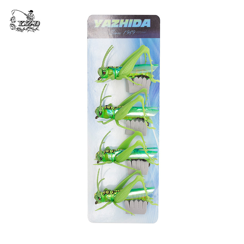 Grasshopper Cricket Dry Fly Fishing Fluer Set 4PCS kit Fluer Tynger - Fiskeri - Foto 4