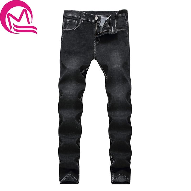 MQ 2017 Men Classic Black Denim Jeans Stretch Slim Fit Denim Plus S Full Long For Men's Jean Softener Full Length Straight Soft new slim men s men s micro horn jeans korean tide slim stretch small trim men s black jeans size26 27 28 29 30 31 32 33 34
