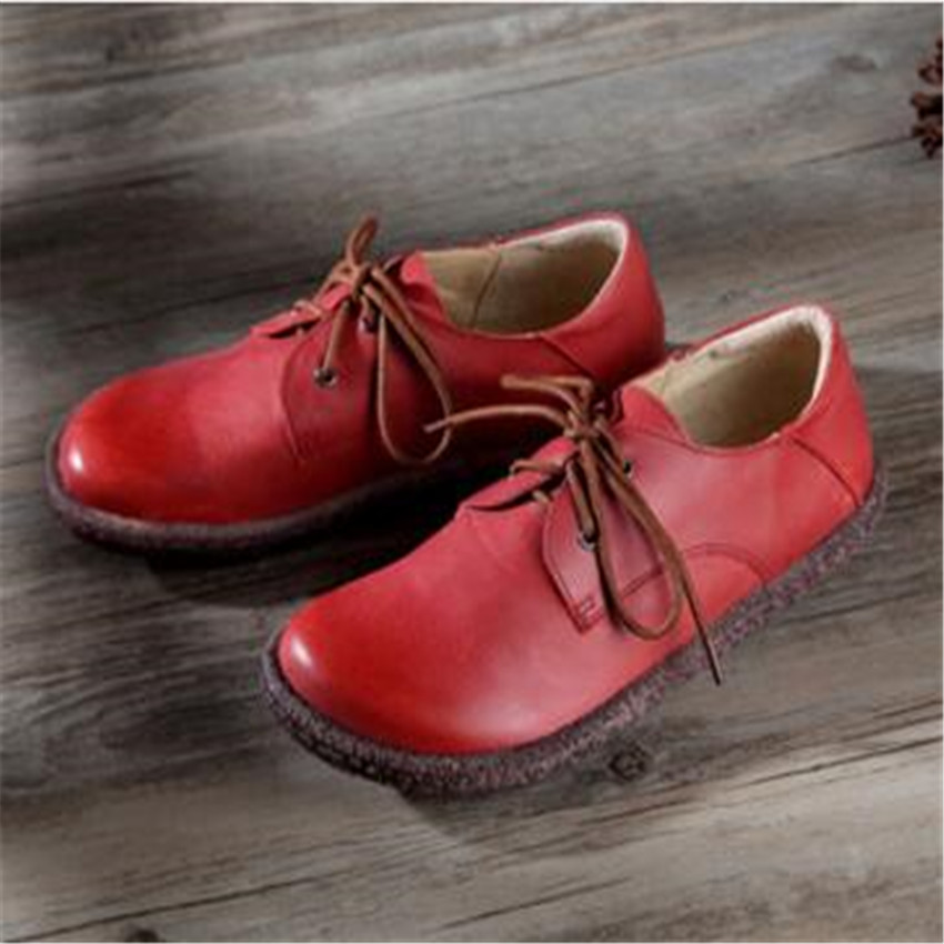 Women Shoes Casual Genuine leather shoes handmade paper apricot art round retro Japanese Sen shoes wholesale women shoes handmade genuine leather