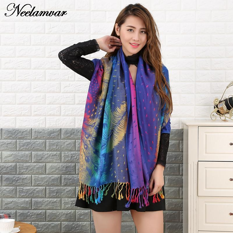 Autumn and Winter new designs fringed scarf women fashion national style pashmina peacock feather scarves big size shawl echarpe