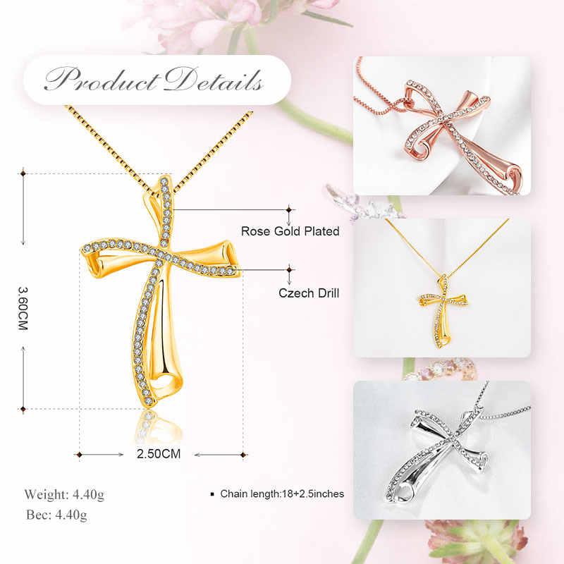 UMODE 2019 nowy okrągły cyrkon kryształ wisiorek naszyjniki dla kobiet różowe i białe złoto naszyjniki pudełko łańcucha czeskie wiertła biżuteria AUN0349