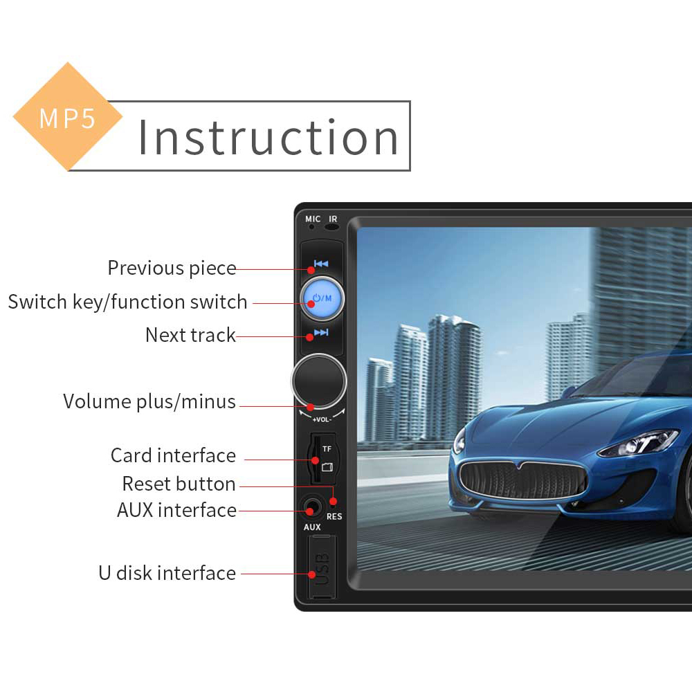 7 Inch 2 DIN Bluetooth In Dash HD Touch Screen Car Video FM Radio Stereo Player Mirror Link for Phone Aux In Rear View Camera in Car MP4 MP5 Players from Automobiles Motorcycles