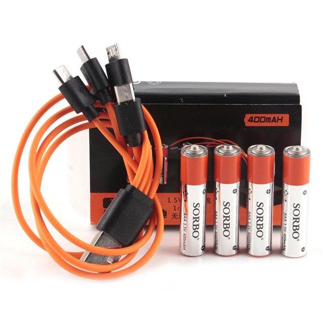 4 piezas SORBO 1,5 V 400 mAh AAA li-po batería recargable USB 1 hora de carga rápida súper potencia con cargador de Cable
