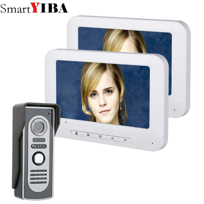 SmartYIBA 7 Inch TFT 2 Monitors Video Door Phone Doorbell Intercom Kit 1-camera 2-monitor Night Vision with HD 700TVL Camera diysecur 1024 x 600 7 inch hd tft lcd monitor video door phone video intercom doorbell 300000 pixels night vision camera rfid