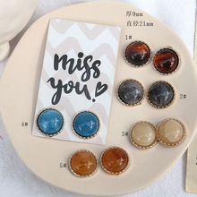 2pcs vintage multicolor smudge single side phnom penh half pill beads patch earrings for women  diy handmade jewelry accessories