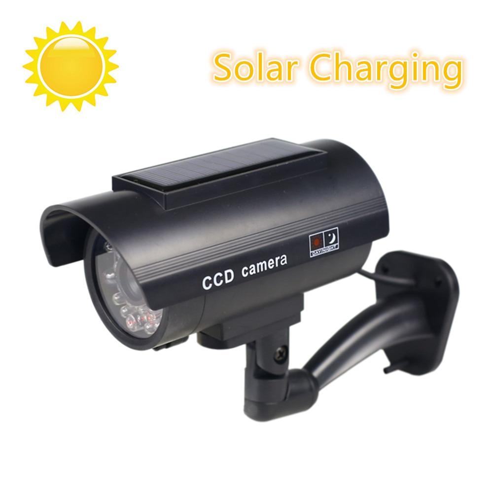 Cámara falsa de energía Solar exterior simulación Dummy Cámara impermeable seguridad CCTV vigilancia bala con luz LED intermitente