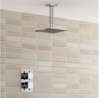 Free Shipping Wall Mount Shower Set With 12 Inch 304 Stainless Steel Rain Ultra Thin Thermostatic