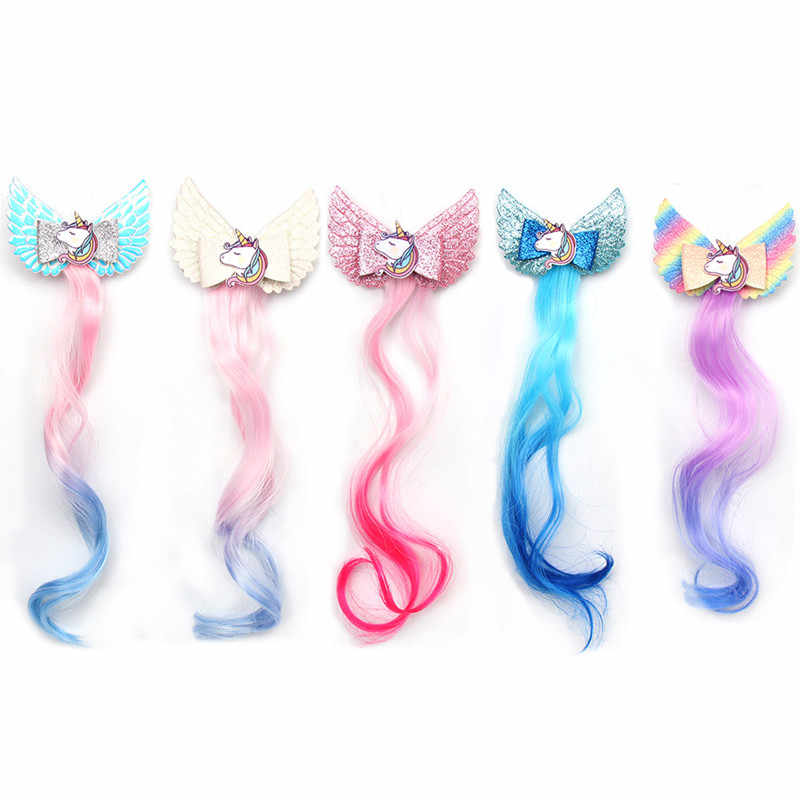 Hair Accessories Barrettes for Girls Children Rainbow Glitter Hair Bows Clips with Unicorn Wing Princess Kids Long Wig Hairpins