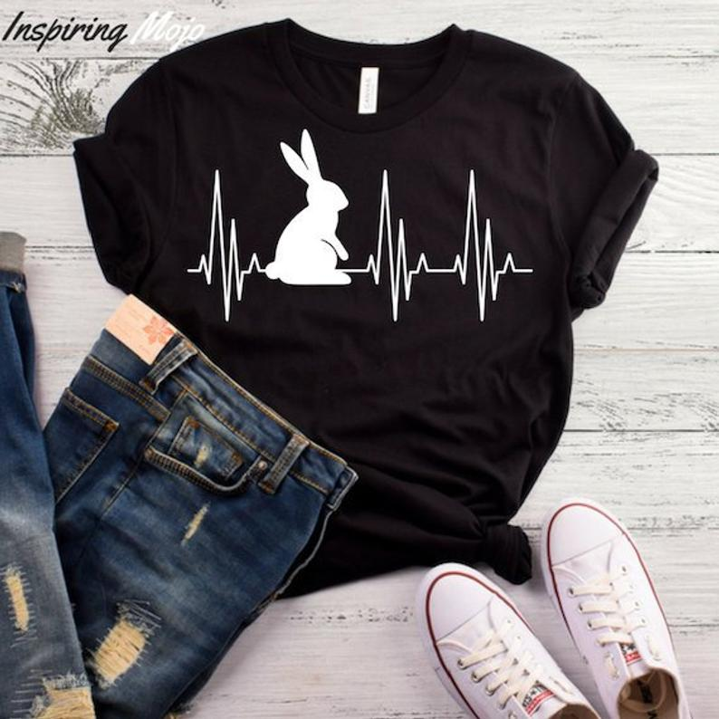 Bunny Heartbeat Print Women Tshirt Cotton Casual Funny T Shirt For Lady Yong Girl Top Tee Hipster Drop Ship S-447