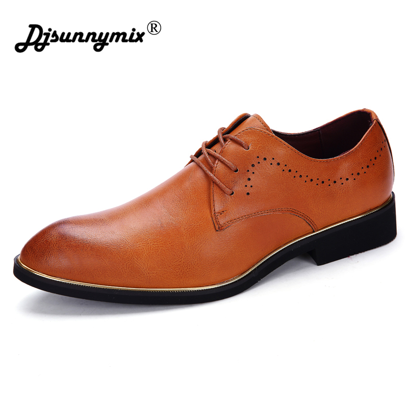 DJSUNNYMIX Brand mens dress for wedding shoes black brown lace-up formal business office ...