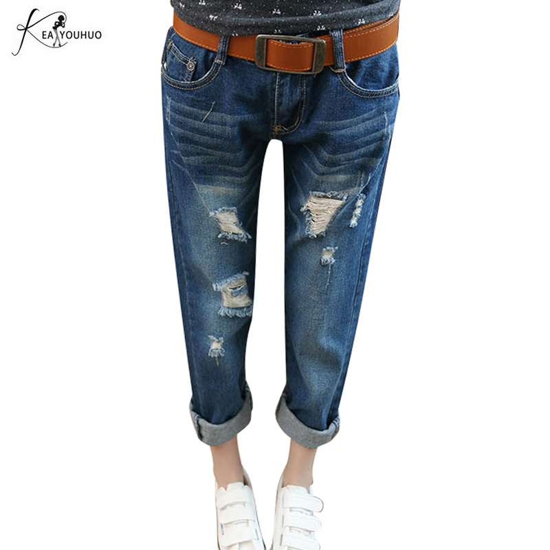 New 2019 High Waist Vintage Casual Female Boyfriend Ripped Jeans For Women Pencil Denim Mom Jeans Plus Size Skinny Jeans Woman