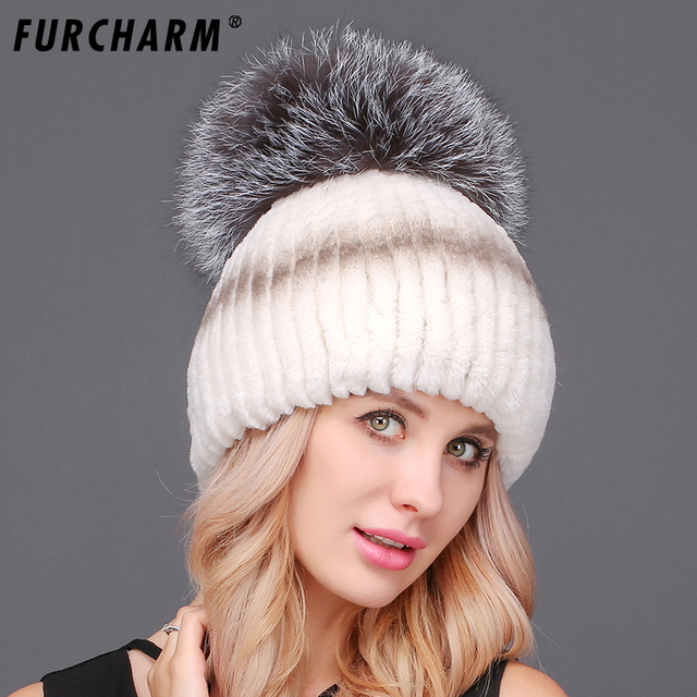 5a49944f Women's Winter Hats High Quality 100% Rex Rabbit Fur Hat with Big Fox Fur  Pompom Knitted Fur Caps Free Size Casual Women's Hat