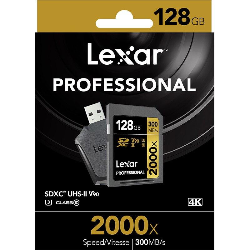 Promotion!!! Carte Lexar 32GB SDHC 64GB 128GB carte SDXC U3 2000X UHS-II 300 mo/s mémoire Flash haute vitesse pour caméra vidéo 3D 4K