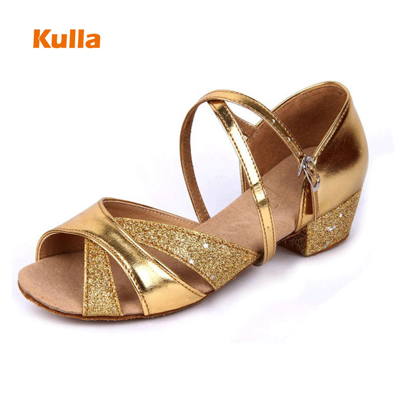 New Arrival Girls/Child/Kids Latin Ballroom Dance Shoes Soft Sole Gold Silver Practice Dancing Shoes Woman Low Heels Dance Shoes