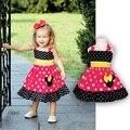 2015 polka dot meninas do bebê veste cinta one piece-dress dos desenhos animados bebe roupas de verão varejo
