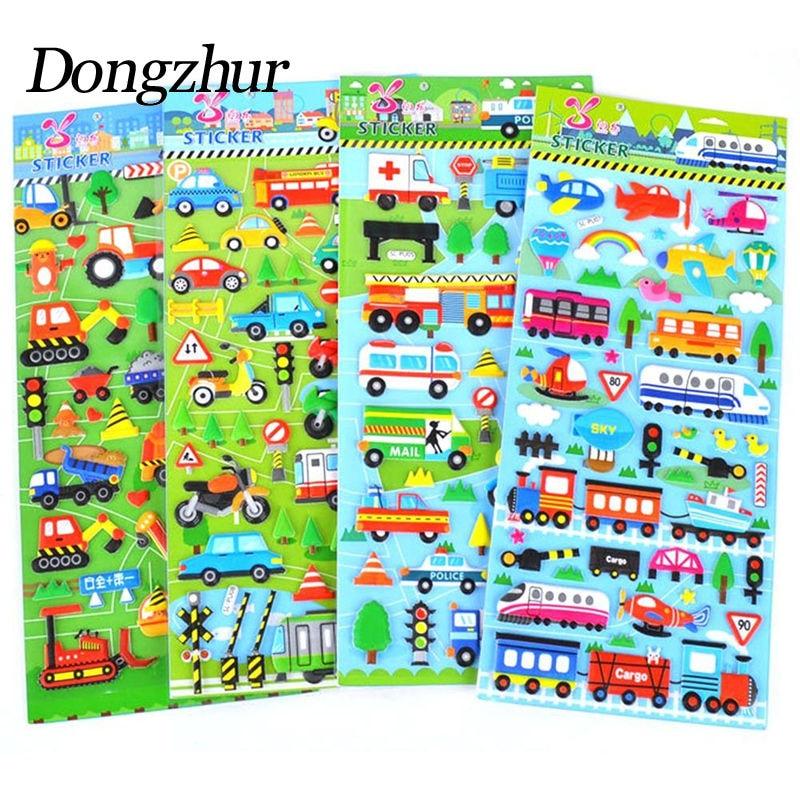 Dongzhur 1pc Children 3D Car Aircraft Traffic Stickers PVC Foam Stickers School Reward Scrapbooking Toys For Children Kids Toys