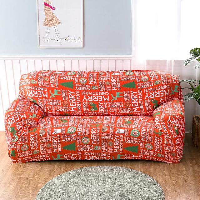 Merry Christmas Stretch Letters Printed Sofa Cover For 1   4 Seater Couch  Single Double Seat