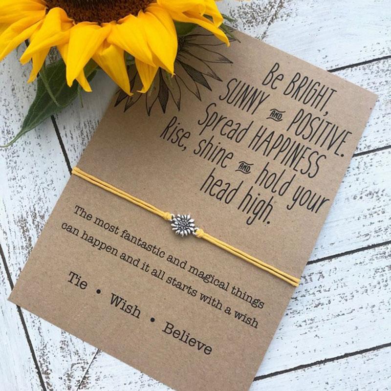 Vintage Jewelry Sunflower Designer Bracelets Silver Sunflower Quote Wish Bracelet Sister Love Friendship Bracelets Women Gifts