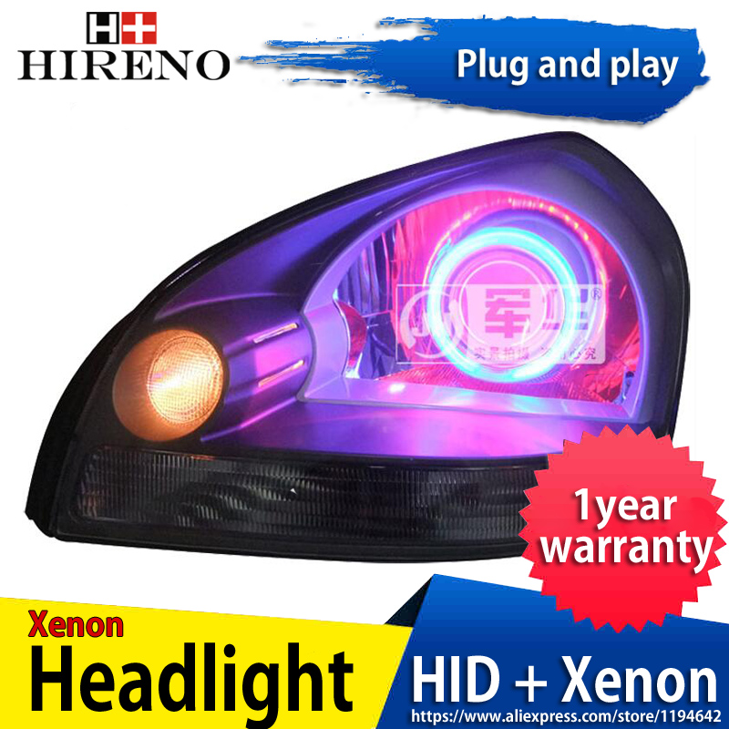 Car custom Modified Xenon Headlamp for Hyundai Tucson 2006-2012 Headlights Assembly Car styling Angel Lens HID 2pcs hireno headlamp for mercedes benz w163 ml320 ml280 ml350 ml430 headlight assembly led drl angel lens double beam hid xenon 2pcs