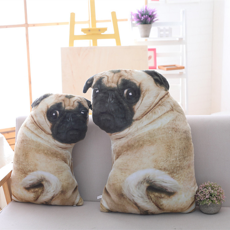 Drop Shipping 55/70cm 3D Simulation Dog Plush Toy Pillow Real Life Doll Funny Pug Dog Doll Nap Pillow Toy