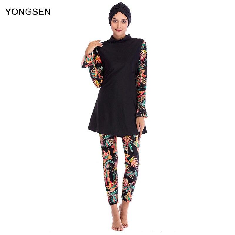 YONGSEN Muslim Swimwear Women Modest Patchwork Hijab Long Sleeves Sport Swimsuit Islamic Muslimah Burkinis Wear Bathing Suit
